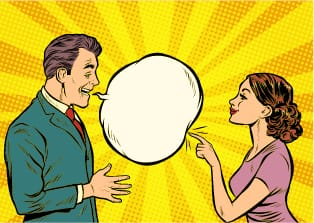 Confident cartoon woman popping a mans communication bubble.