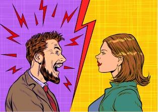 Disgruntled cartoon man yelling at an unfazed woman.