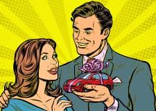 Cartoon man presenting a woman a present.