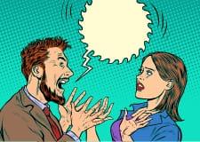Cartoon man screeming at a shocked woman.