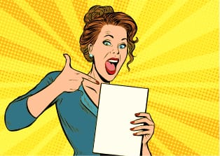 Cartoon woman excited to read her results of her profile quiz.